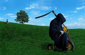 grim reaper on tricycle with lollipop
