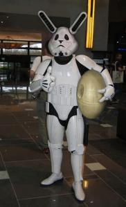 storm trooper bunny with death star egg